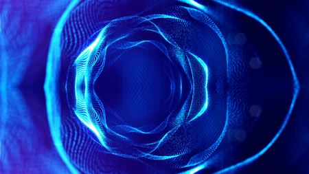 blue particles form line and surface grid. microcosm or space. 3d rendering science fiction background of glowing particles with depth of field and bokeh. spherical structures 8 Stock Photo