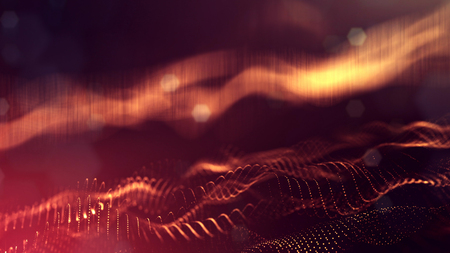 Golden red particles form line and surface grid. microcosm or space. 3d rendering science fiction background of glowing particles with depth of field and bokeh. Curved lines 38