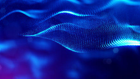 blue particles form line and surface grid. microcosm or space. 3d rendering science fiction background of glowing particles with depth of field and bokeh. 15