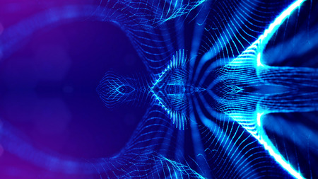 blue particles form line and surface grid. microcosm or space. 3d rendering science fiction background of glowing particles with depth of field and bokeh. symmetrical structures 10