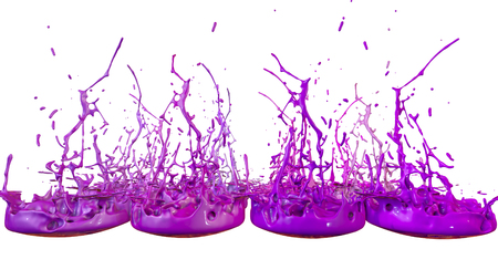 3d render of paint splashes isolated on white background. Simulation of 3d splashes on a musical speaker that play music. shades of purple 1 in a rows Imagens - 106012072