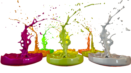 3d render of paint splashes isolated on white background. Simulation of 3d splashes on a musical speaker that play music. multicolor version 1 in a rows Imagens