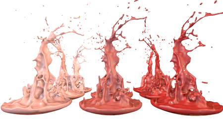 3d render of paint splashes isolated on white background. Simulation of 3d splashes on a musical speaker that play music. shades of warm colors 41 in a rows Imagens - 106012074