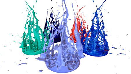 3d render of paint splashes isolated on white background. Simulation of 3d splashes on a musical speaker that play music. multicolor version 28 circular structure
