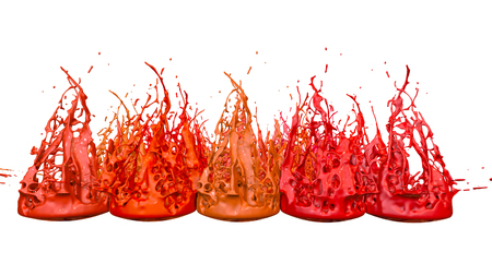 3d render of paint splashes isolated on white background. Simulation of 3d splashes on a musical speaker that play music. shades of warm colors 37 in a rows 版權商用圖片 - 106012289