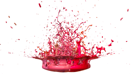 3d render of paint splashes isolated on white background. Simulation of 3d splashes on a musical speaker that play music. shades of warm colors 15 circular structure
