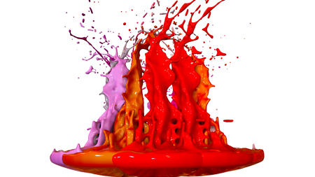3d render of paint splashes isolated on white background. Simulation of 3d splashes on a musical speaker that play music. shades of warm colors 13 circular structure 版權商用圖片 - 106006305