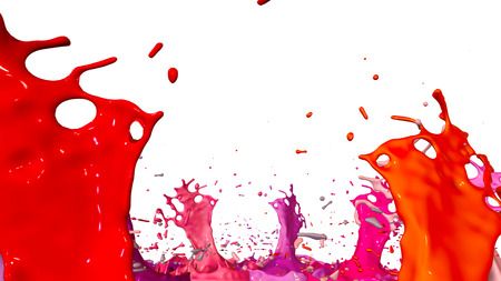 3d render of paint splashes isolated on white background. Simulation of 3d splashes on a musical speaker that play music. shades of warm colors 11 Фото со стока