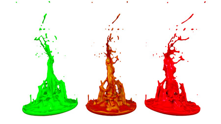 3d render of paint splashes isolated on white background. Simulation of 3d splashes on a musical speaker that play music. multicolor version 11 in a row Imagens - 106054174