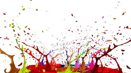 3d render of paint splashes isolated on white background. Simulation of 3d splashes on a musical speaker that play music. multicolor version 12 Imagens - 106054175