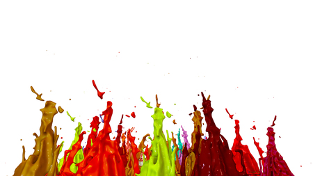 3d render of paint splashes isolated on white background. Simulation of 3d splashes on a musical speaker that play music. multicolor version 13