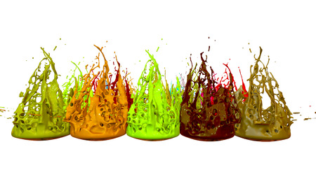 3d render of paint splashes isolated on white background. Simulation of 3d splashes on a musical speaker that play music. multicolor version 14 in a rows
