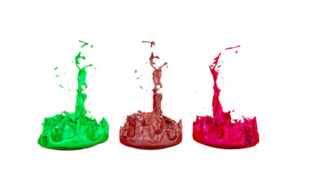 3d render of paint splashes isolated on white background. Simulation of 3d splashes on a musical speaker that play music. multicolor version 3 in a row Imagens