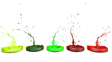 3d render of paint splashes isolated on white background. Simulation of 3d splashes on a musical speaker that play music. multicolor version 7 in a row