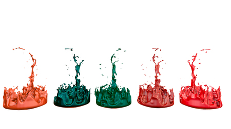 3d render of paint splashes isolated on white background. Simulation of 3d splashes on a musical speaker that play music. multicolor version 9 in a row Imagens