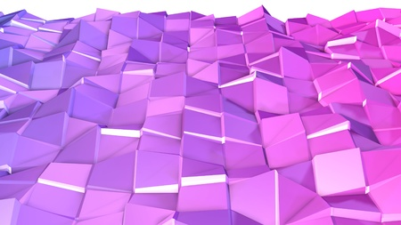 3d render of abstract geometric background with modern gradient colors in low poly style. 3d surface with nice violet gradient. 1