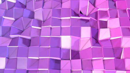 3d render of abstract geometric background with modern gradient colors in low poly style. 3d surface with nice violet gradient. 2
