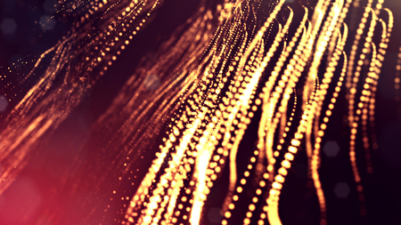 3d render of abstract golden red composition with depth of field and glowing particles in dark with bokeh effects. Science fiction microcosm or macro world or abstract Christmas garlands in the air.16