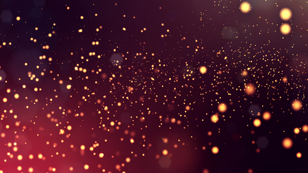 3d render of abstract golden red composition with depth of field and glowing particles in dark with bokeh effects. Science fiction microcosm or macro world or abstract Christmas garlands in the air.11 Фото со стока