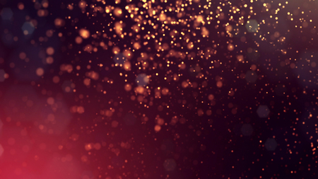 3d render of abstract golden red composition with depth of field and glowing particles in dark with bokeh effects. Science fiction microcosm or macro world or abstract Christmas garlands in the air.15 Stock Photo