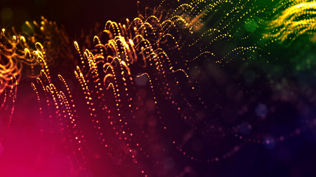 3d render of abstract multi-color composition with depth of field and glowing particles in dark with bokeh effects. Science fiction microcosm or macro or abstract Christmas garlands in the air. 6