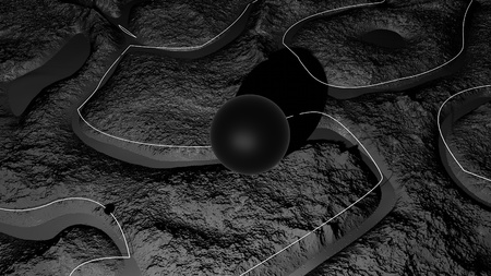 3d render of abstract planet surface. Very detailed sci fi or science fiction background in greyscale like moon landscape with 3d objects. Ð¡osmic surface of the planet 23