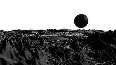 3d render of abstract planet surface. Very detailed sci fi or science fiction background in greyscale like moon landscape with 3d objects. Ð¡osmic surface of the planet 27