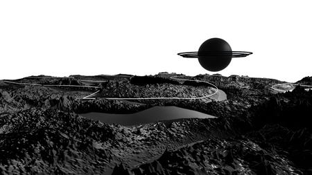 3d render of abstract planet surface. Very detailed sci fi or science fiction background in greyscale like moon landscape with 3d objects. Ð¡osmic surface of the planet 28