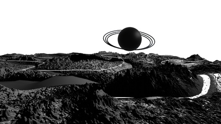 3d render of abstract planet surface. Very detailed sci fi or science fiction background in greyscale like moon landscape with 3d objects. Ð¡osmic surface of the planet 32 Banco de Imagens
