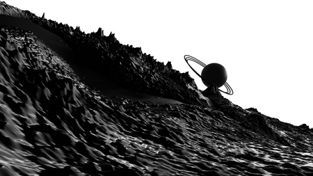 3d render of abstract planet surface. Very detailed sci fi or science fiction background in greyscale like moon landscape with 3d objects. Ð¡osmic surface of the planet 82 Banco de Imagens