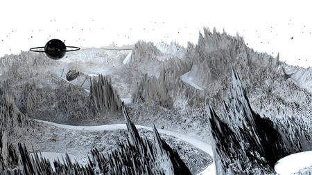 3d render of abstract planet surface. Very detailed sci fi or science fiction background in greyscale like moon landscape with 3d objects. Ð¡osmic surface of the planet 202