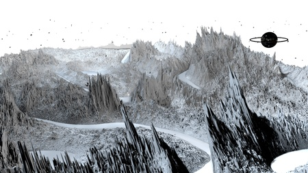 3d render of abstract planet surface. Very detailed sci fi or science fiction background in greyscale like moon landscape with 3d objects. Ð¡osmic surface of the planet 204