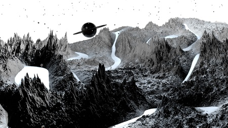 3d render of abstract planet surface. Very detailed sci fi or science fiction background in greyscale like moon landscape with 3d objects. Ð¡osmic surface of the planet 222 Reklamní fotografie