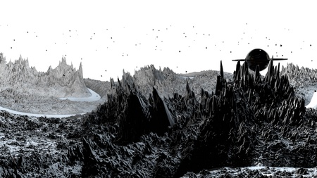 3d render of abstract planet surface. Very detailed sci fi or science fiction background in greyscale like moon landscape with 3d objects. Ð¡osmic surface of the planet 128