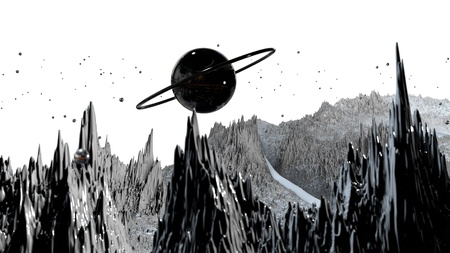 3d render of abstract planet surface. Very detailed sci fi or science fiction background in greyscale like moon landscape with 3d objects. Ð¡osmic surface of the planet 148 Reklamní fotografie