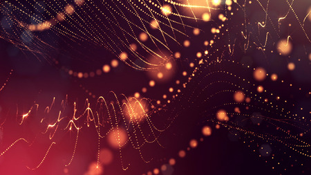Particles form line and surface grid. 3d rendering. Science fiction golden background of glowing particles with depth of field and bokeh. Motion graphics microwold. 43