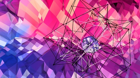 3d low poly abstract geometric background with modern gradient colors. 3d surface blue red violet gradient colors with 3d objects. 2 Imagens