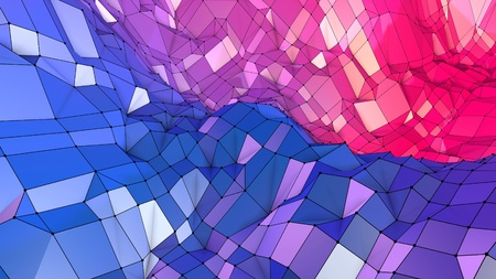 3d low poly abstract geometric background with modern gradient colors. 3d surface blue red violet gradient colors. 13
