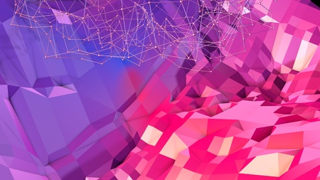 3d low poly abstract geometric background with modern gradient colors. 3d surface blue red violet gradient colors. 11
