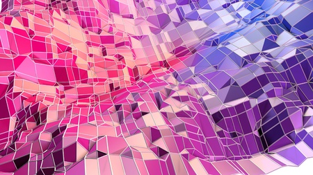 3d low poly abstract geometric background with modern gradient colors. 3d surface blue red violet gradient colors with grid. 9