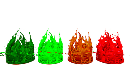paints dance on white background. Simulation of 3d splashes of ink on a musical speaker that play music. beautiful splashes as a bright background in ultra high quality. multicolor 10