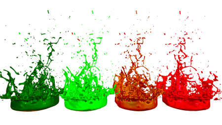 paints dance on white background. Simulation of 3d splashes of ink on a musical speaker that play music. beautiful splashes as a bright background in ultra high quality. multicolor 11