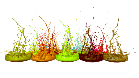 paints dance on white background. Simulation of 3d splashes of ink on a musical speaker that play music. beautiful splashes as a bright background in ultra high quality. warm colors 49