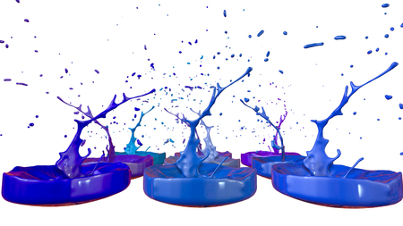 paints dance on white background. Simulation of 3d splashes of ink on a musical speaker that play music. beautiful splashes as a bright background in ultra high quality. Cold colors 43 Imagens