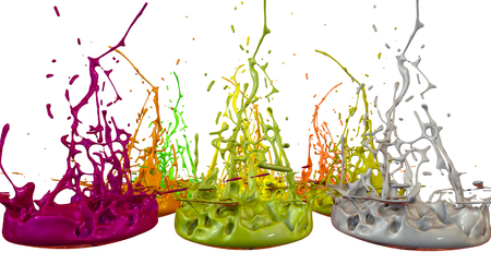 paints dance on white background. Simulation of 3d splashes of ink on a musical speaker that play music. beautiful splashes as a bright background in ultra high quality. multicolor 2