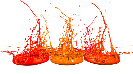paints dance on white background. Simulation of 3d splashes of ink on a musical speaker that play music. beautiful splashes as a bright background in ultra high quality. warm colors 58 Imagens - 115656285