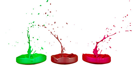 paints dance on white background. Simulation of 3d splashes of ink on a musical speaker that play music. beautiful splashes as a bright background in ultra high quality. multicolor 4 版權商用圖片 - 115656287