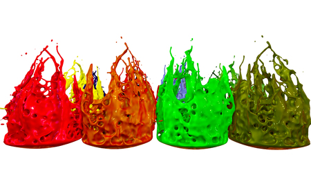 paints dance on white background. Simulation of 3d splashes of ink on a musical speaker that play music. beautiful splashes as a bright background in ultra high quality. multicolor 18 Foto de archivo