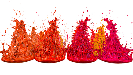 paints dance on white background. Simulation of 3d splashes of ink on a musical speaker that play music. beautiful splashes as a bright background in ultra high quality. warm colors 48