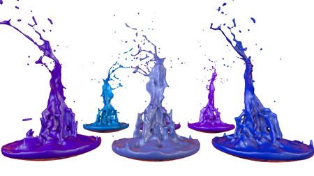 paints dance on white background. Simulation of 3d splashes of ink on a musical speaker that play music. beautiful splashes as a bright background in ultra high quality. Cold colors 42